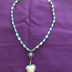 Turquoise & White bead heart necklace